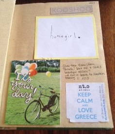 A card sent in the mail from a friend I met in Greece
