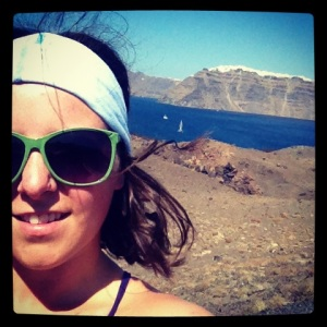 Me Rockin my KOOSHOO ENSO BATIK Headband on a crater in Santorini, Greece